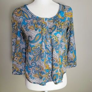H&M Paisley 3/4-Sleeve Cotton Button Down Blouse